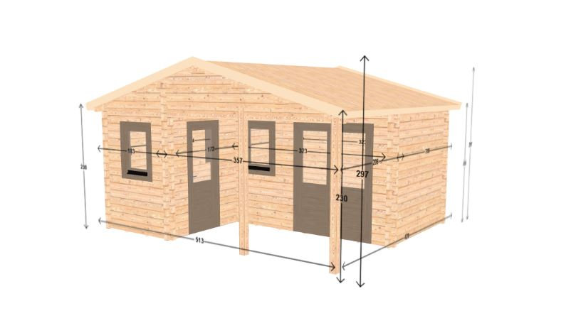 Inka 297 sq. ft. Cabin Garden House style floorplan design