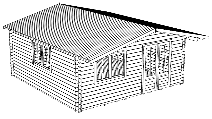 Head Office 16 ft. x 16 ft. multi room Log  Cabin D.I.Y.  Building kit