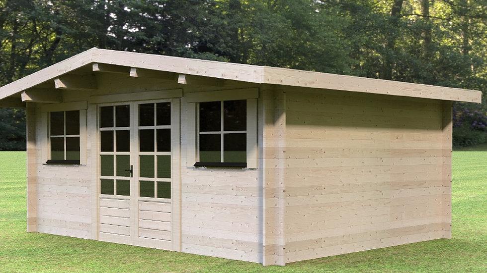 Hoby 12 ft. 9 in. x 9 ft. 6 in. milled log D.I.Y building kit