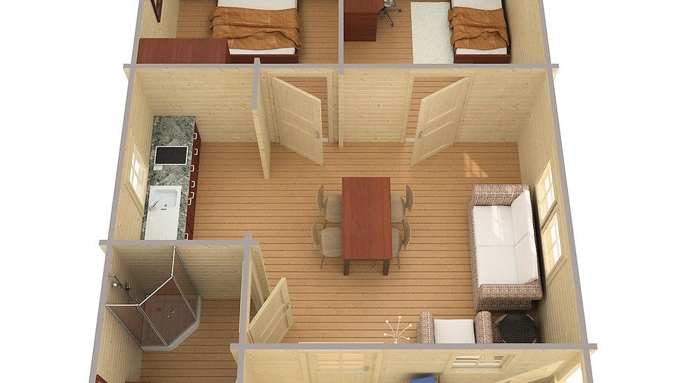 AlmaA 19 ft. 5 in. x 27 ft 5 in, with a 13 ft  x 4 ft 6 in. porch, milled timber