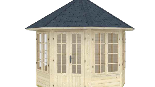 Mariah 9 ft. 8 in. x 9 ft. 8 in. Enclosed Log Octagon Gazebo Building Kit