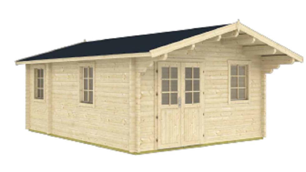 Landoa D 13 ft. 8 in x 18 ft 8 in Log Cabin D.I.Y.  Building kit