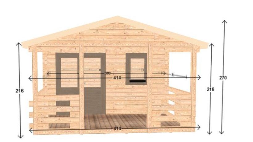 Monte J68 12 ft. 5 in. x 18 ft. 10 in. D.I.Y. log building kit with  porch