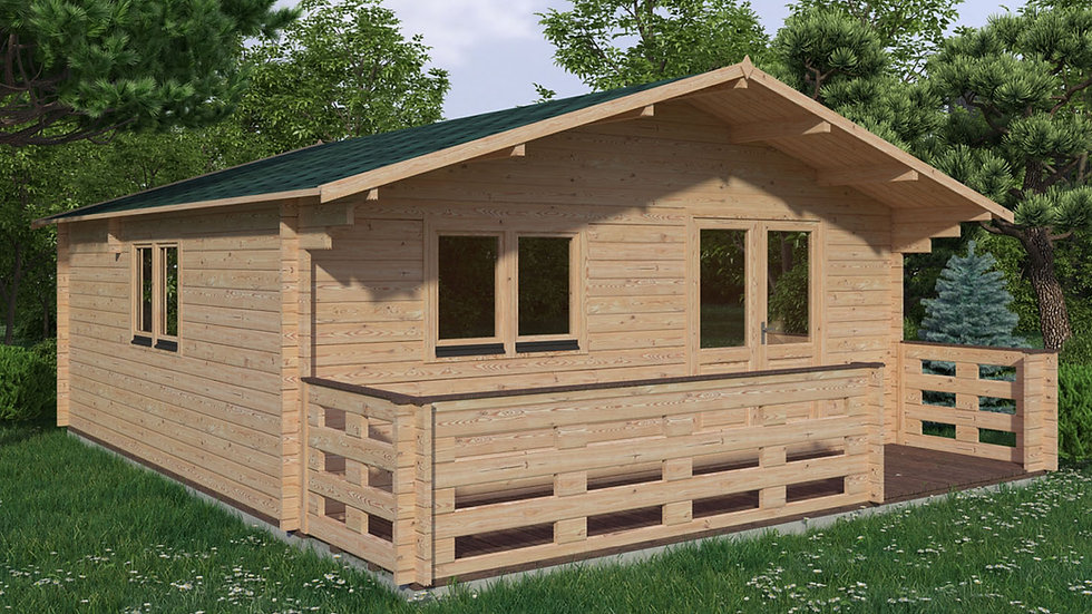Linus J44T 19 ft. x 19 ft. multi room Log  Cabin D.I.Y.  Building kit