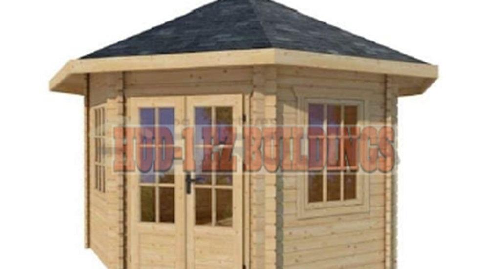 Emma 12 ft. x 12 ft. Enclosed Log Octagon Pavilion Building Kit