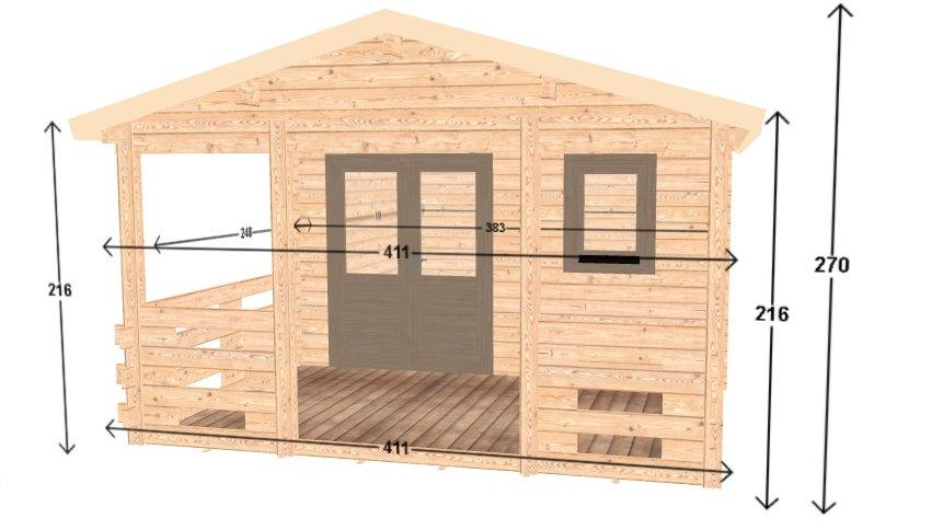 12 ft. 5 in. x 18 ft. 10 in. D.I.Y. building kit with 12 ft. 5 in. x 7 ft. porch