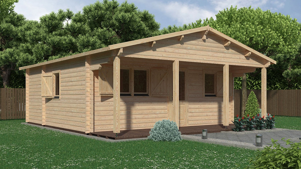Louise J68 19 ft. 5 in x 19 ft. 5 in multi room Log  Cabin D.I.Y.  Building kit