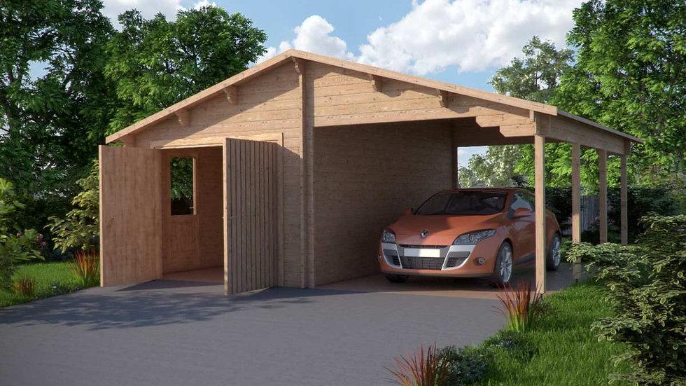 Log Garage CJ 22 ft. 3 in.  x 18 ft. 3 in.  x 10 ft. 6 in. D.I.Y. Log Garage Kit