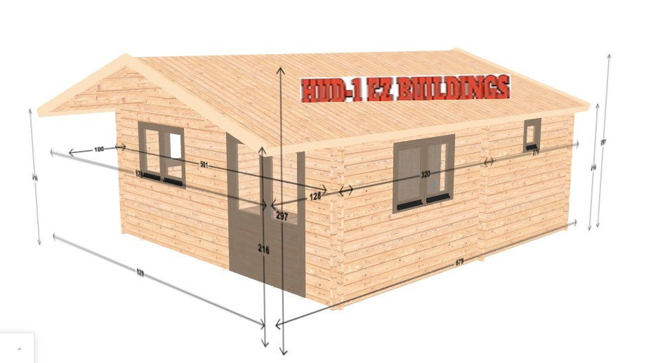 Toreco JF44s 17 ft 4 in x 19 ft 2 in Log cabin D.I.Y. insulated Building kit