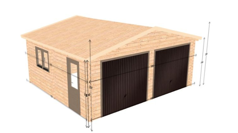 Log Garage D2 19.5 ft. x 17.42 ft. x 10 ft. Wood Log Garage Kit without Floor