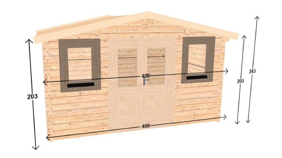 12 ft. 5 in. x 9 ft. 8 in. milled log D.I.Y building kit