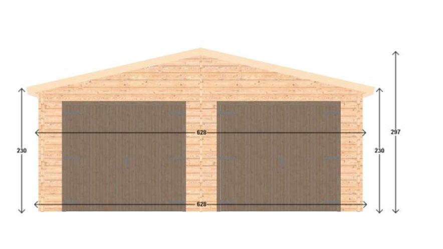 Garage J6sq 19.5 ft. x 19.5 ft. x 10 ft. Wood Log Garage Kit without f