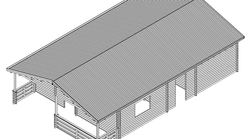 JacksonDS 24 ft.  x  34 ft. multi room log cabin building kit