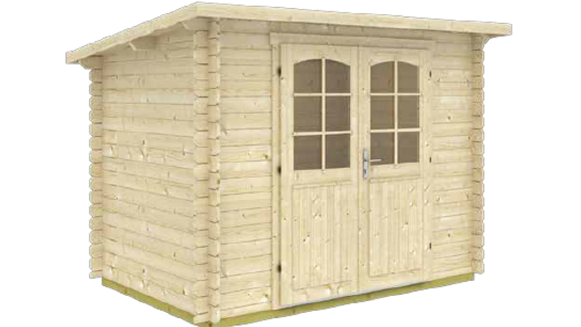 Gloria A 9 ft. 8 in. x 6 ft. 5 in. Modern Low Slope Log Garden House Storage Bui