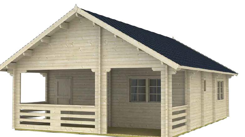 Lexi P32 20ft x 30ft  Log house Building Kit with bunk loft sleep area