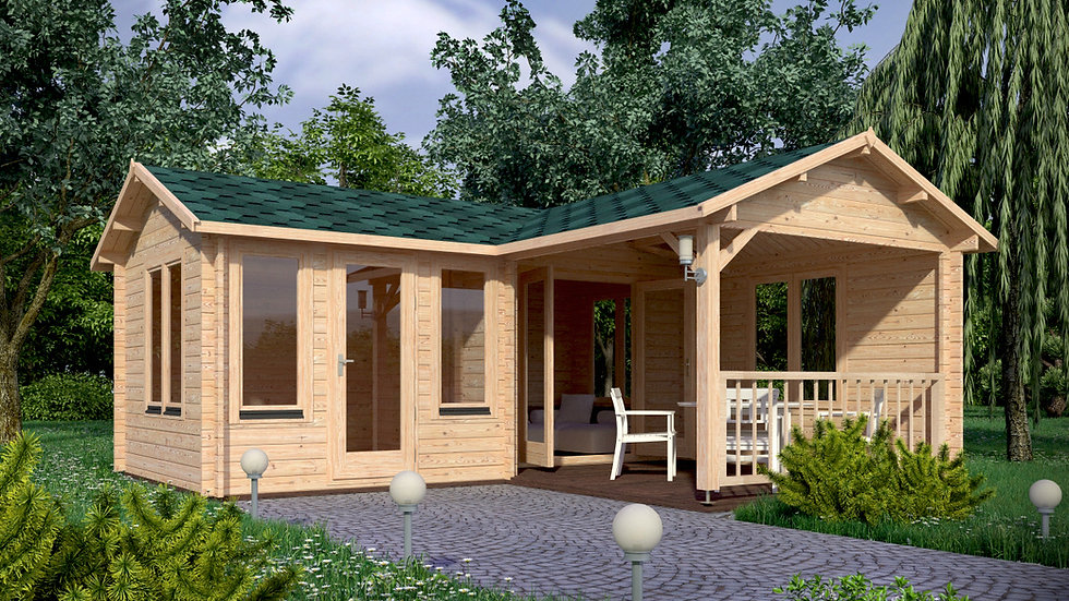 Suzy 302 sq. ft. Terrace multi room style Log  Cabin D.I.Y.  Building kits