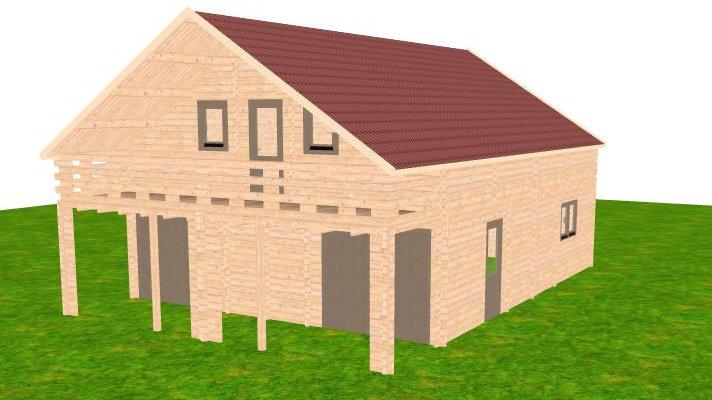 Garage Lury J68b 26 ft. x 37 ft. x 19.5 ft.  D.I.Y. log Building k