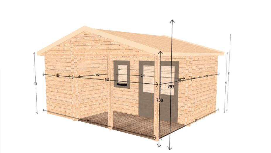 Freestyle J 297 sq. ft. log home office extra space D.I.Y. building kit