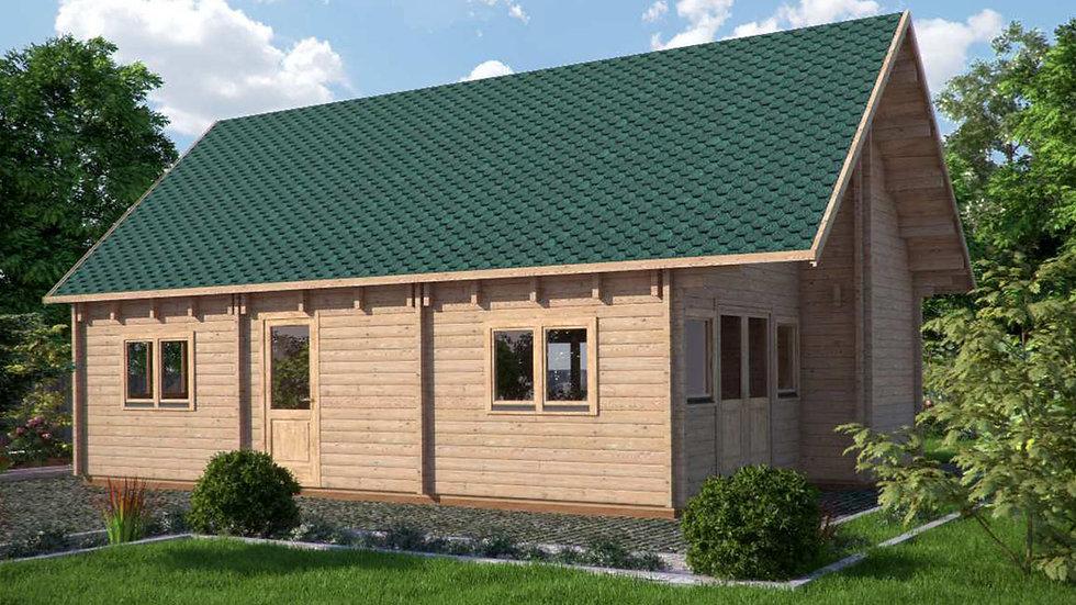 Felix J68 19 ft. x 32 ft. multi room log cabin D.I.Y. building kit