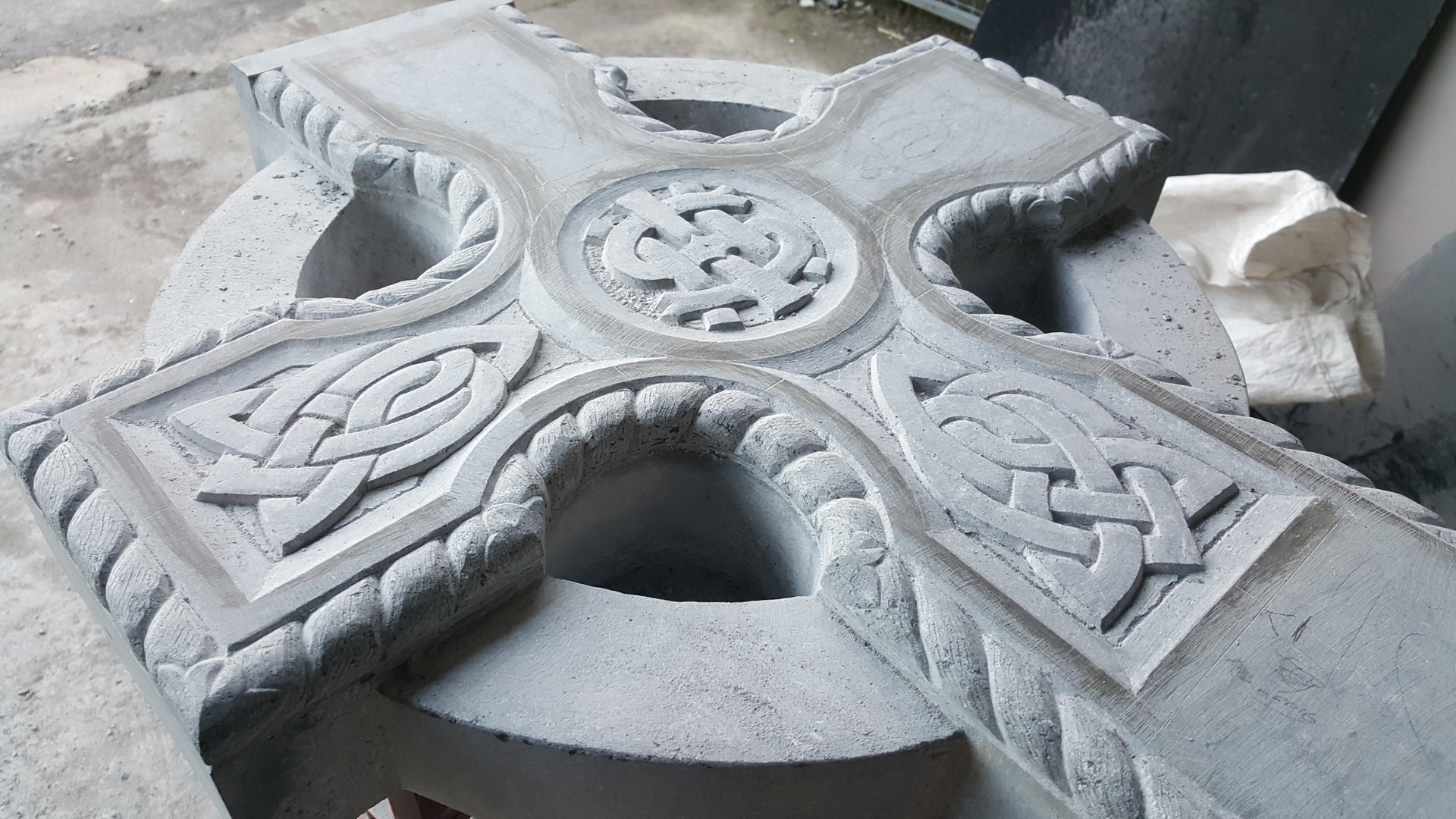 Hand carved celtic cross Irish crafted.