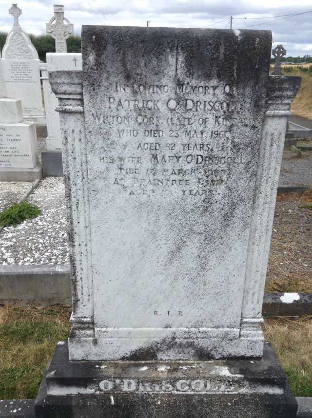 Gravestone before cleaning.