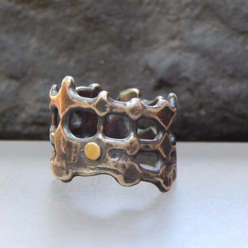 argentium sterling silver and 18 karat gold ring