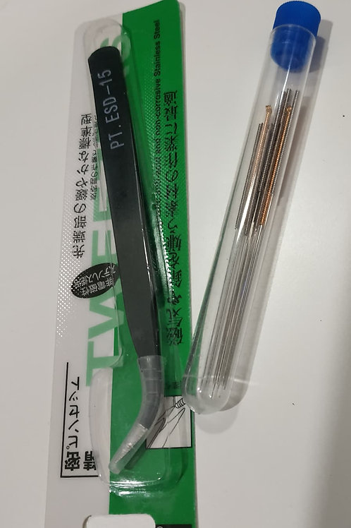Hot end Cleaning needles and angled steel tweezers