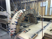 Radius top jambs glue up.