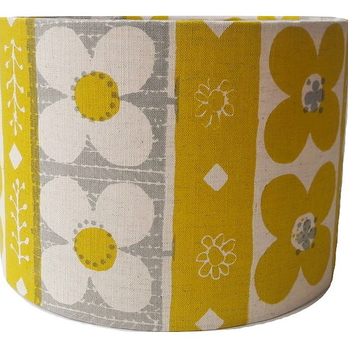Flora II, Gorse Yellow and Light Grey, 30 cm drum lampshade