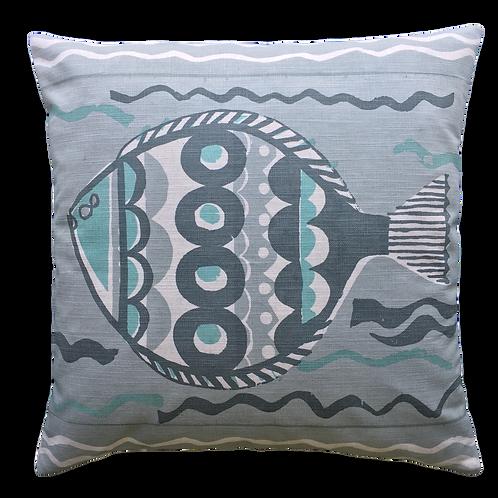 Large Fish, Aqua Grey, 45x45cm