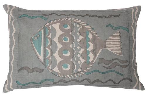 Large Fish, Aqua and Pale Grey, 60 x 40 cm