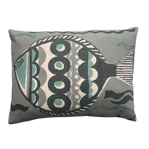 Large Fish in Aqua grey, 28x39cm small pillow