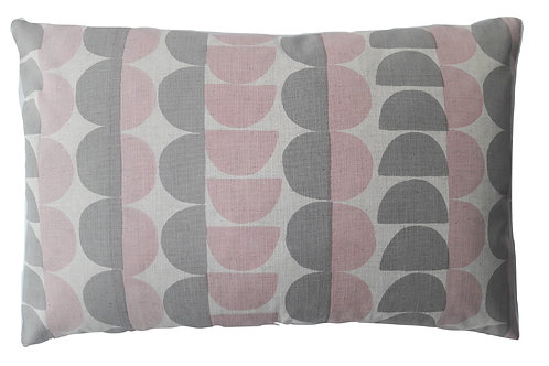 Semicircle, Shell Pink and Pale Grey, 60 x 40 cm