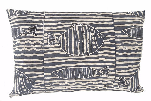 Fish Stripe, Indigo, 60 x 40 cm