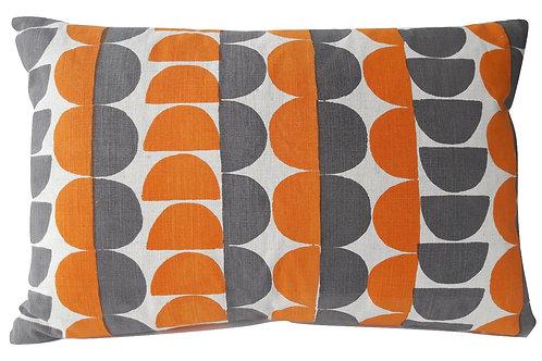 Semicircle, Orange and Mole Grey, 60 x 40 cm