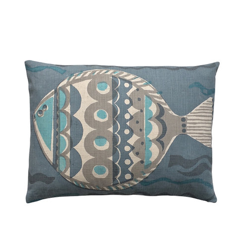 Large Fish, Blue 28x39cm small pillow