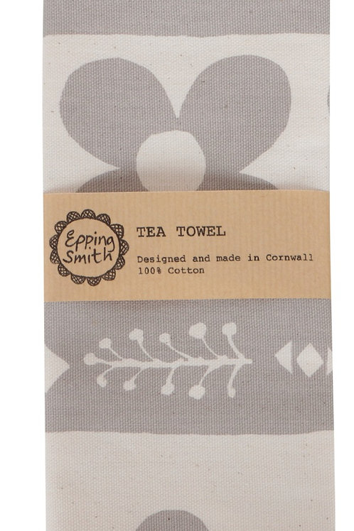 Tea Towel - Flora I, Warm Grey