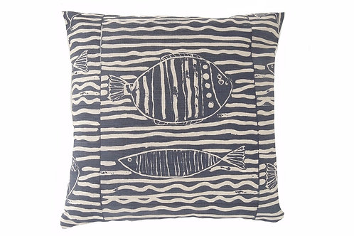 Fish Stripe, Indigo, 45 x 45 cm