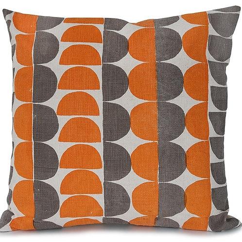 Semicircle, Orange and Mole Grey, 45 x 45 cm