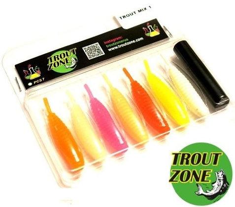 "Мягкие приманки Trout Zone Ribber Pupa 2.3"" MIX1"