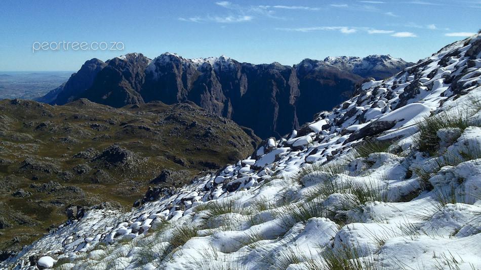 View from snow covered Victoria Peak towards Stellenbosch