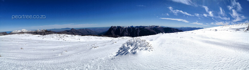 Snow on Victoria Peak view towards Jonkershoek