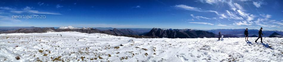 Snow on Victoria Peak Jonkershoek with Somerset Sneeukop in background
