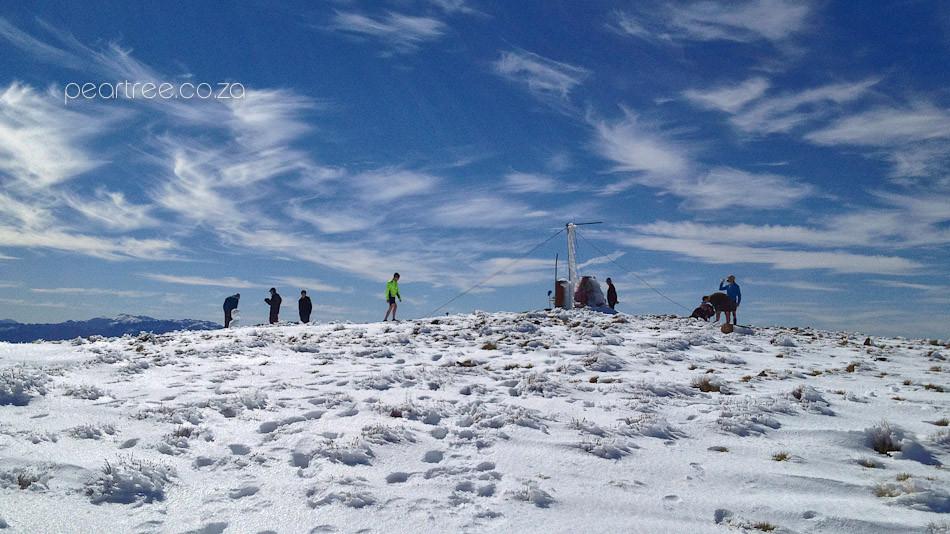 Snow covered Victorioa Peak Jonkershoek with Trail Runners