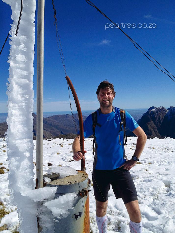 Wil Punt Trail Runner Photographer on top Snow Covered Victoria Peak Jonkershoek Stellenbosch