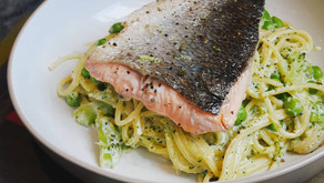 Pan Fried Salmon with a Creamy Broccoli and Garden Pea Pasta...