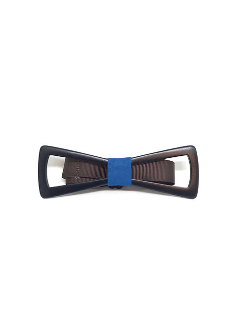 Noeud papillon bois - Slim bleu
