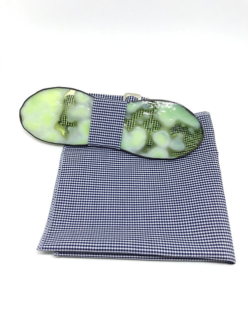 Noeud papillon en verre + pochette - Vert d'eau