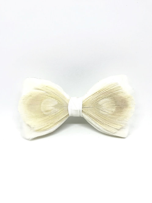 Noeud papillon plume paon - Blanc