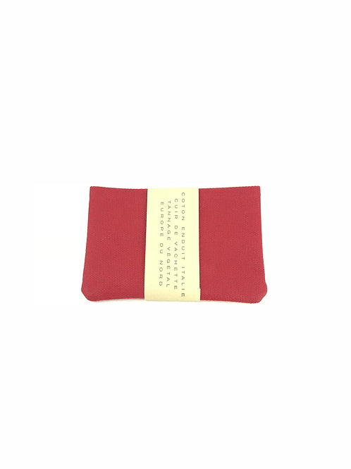 CARRE ROYAL - Porte carte simple cuir/toile rouge